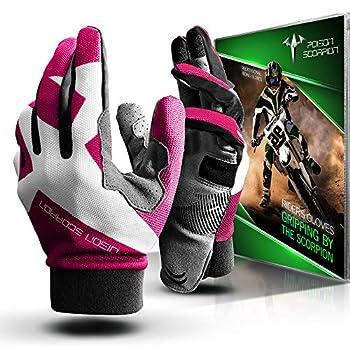 POISON SCORPION Motorcycle Gloves for Women Men Outdoor Sports Full Finger Pink XL fit Dirt Bike Motocross MX BMX MTB ATV UTV Mountain Bicycle Cycling Biking Riding - Touchscreen Non slip Breathable