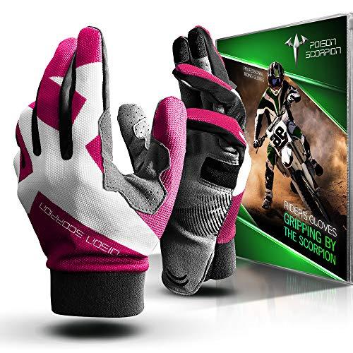 POISON SCORPION Motorcycle Motocross Dirt Bike Gloves for Men Women | Pink L