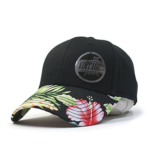 Premium Floral Hawaiian Cotton Twill Adjustable Snapback Hats Baseball Caps (Varied Colors) (Black/Hawaiian)
