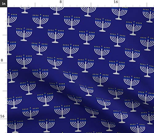 Spoonflower Fabric - Blue Silver Menorah Midnight Scale Hanukkah Holiday Printed on Petal Signature Cotton Fabric Fat Quarter - Sewing Quilting Apparel Crafts Decor