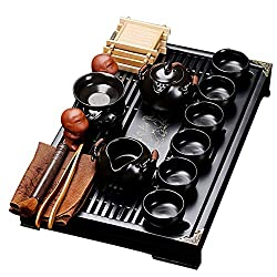 fanquare Chinese Black Ceramic Kung Fu Tea Set With Tea Tray And Small Tea Tools,Porcelain Tea Service
