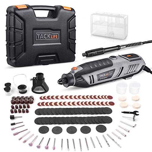 TACKLIFE Rotary Tool 200W Power Variable Speed with 170 Accessories, MultiPro Keyless Chuck and Flex Shaft, Carrying Case, Multi-Functional for Around-The-House and Crafting Projects - RTD36AC