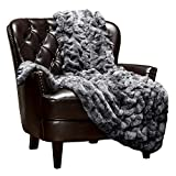 Chanasya Ruched Luxurious Soft Faux Fur Throw Blanket - Fuzzy Plush and Elegant with Reversible Mink Blanket for Sofa Chair Couch Living Room Birthday Gift and Home Decor (50x65 Inches) Dark Gray