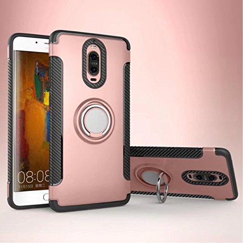 YHUISEN Armatura Dual Layer 2 in 1 custodia protettiva antiurto Heavy Duty con 360 gradi girevole supporto per anelli di barretta e supporto magnetico per Huawei Mate 9 Pro ( Color : Rose Gold )