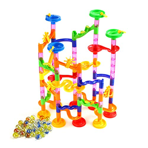 Powerextra 105Pcs Marble Run Set Toy for Kids, Education Mini Marble Building Set, Marble Maze Game Gift for Girl Boy (75 Marbulous Pieces + 30 Glass Marbles)