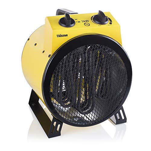 Tristar KA-5047UK Electric Industrial Ceramic Heater, 3000W, 3 Speed, Fresh air Fan Mode, Metal, 3000 W, Black/Yellow
