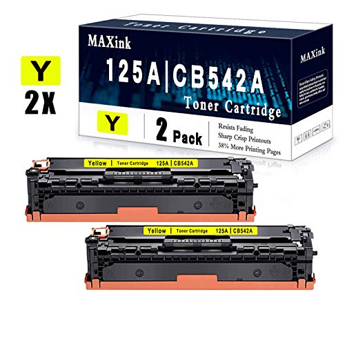 2 Pack Yellow Remanufactured Toner Cartridge 125A CB542A Compatible for HP CP1215 CP1518ni CP1515n CM1312nfi CM1312 Printer Toner Cartridge - Sold by MAXink
