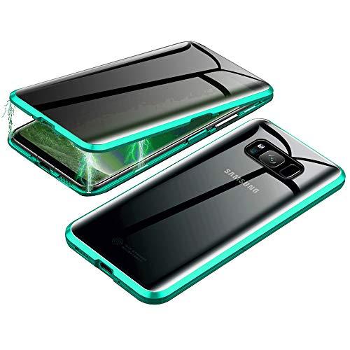 Jonwelsy Anti-Spy Funda para Samsung Galaxy S8, 360 Grados Proteccion Case, Privacidad Vidrio Templado Anti espía Cover, Adsorción Magnética Metal Bumper Cubierta para Galaxy S8 (Verde)