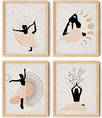 Boho Wall Art Prints for Girls Room Decor Set of 4 Posters for Girls Room Decoration 8x10 Inches Modern Wall Art Aesthetic Cute Wall Decor for Bedroom - Unframed