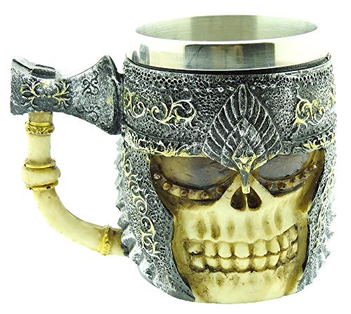 Taza de calavera con casco - hacha - calavera - esqueleto - 3d - acero inoxidable - resina - jarra de cerveza - horror - gótico - bebidas - hombre - guerrero - vikingo - medieval - halloween