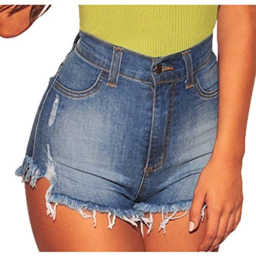 Winkey - Pantalones cortos de verano para mujer, tejido vaquero ripped Light Blue-B M