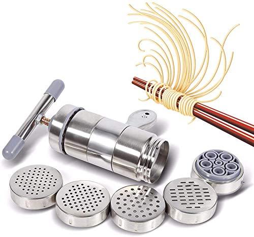 Bestine Manuelle Nudel-Nudelmaschine, Edelstahl Manuelle Nudelpresse Nudelmaschine Nudel-Spaghetti-Tagliatelle-Werkzeug mit 5 Modulen und 1 Nudel-Maker