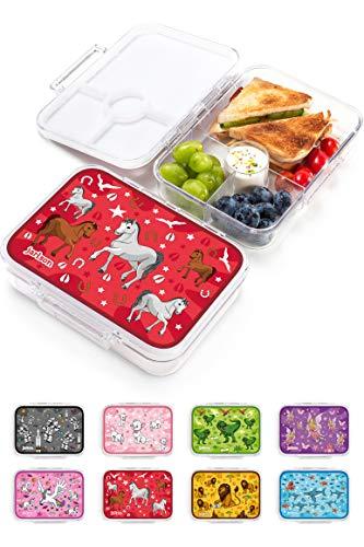 JARLSON® Brotdose für Kinder mit 4 Fächern - Lunchbox aus Tritan - Bento Box auslaufsicher – Jausenbox für Kindergarten und Schule - Mädchen und Jungen - 850ml (Pferd)