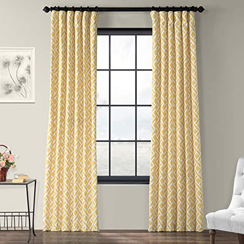 HPD Half Price Drapes PRCT-D07A-96 Martinique Printed Cotton Curtain,Yellow,50 X 96