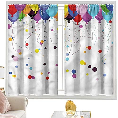 Cortinas de dormitorio abstractas, globo volando en el aire W52 x L63 pulgadas, bolsillo para barra