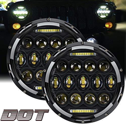 "TURBO SII DOT Approved Pair 75W 7""Inch Round LED Projector Headlights with White DRL Hi/Lo Beam For Wrangler CJ-5 CJ-7 1997-2017 TJ LJ JK JKU Rubicon Sahara Hummer H1 H2 Land Cruiser Dodge Dakota"