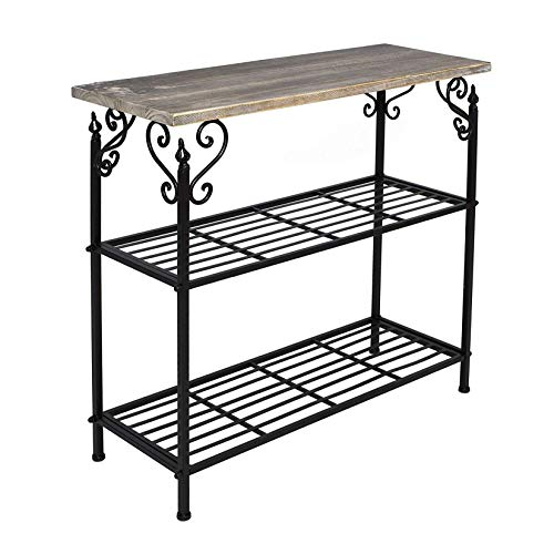 rustikales Metall-Regal in schwarz, 2 Böden und Holz-Platte, im Antik-Design