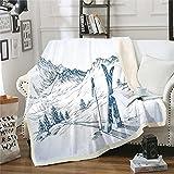 Manta de felpa para monopatín de esquí, para niños y niñas, esquí antártico, manta de forro polar, para decoración de montaña de nieve, manta difusa para sofá cama, 122 x 152 cm