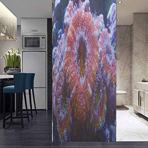 "ViLJe DIY Glass Sticker Static Cling Decorative Film Home Decor, Australian Acan Coral, Self-Adhesive Home Bedroom Bathroom Office Privacy Films 17.7""x78.7"""