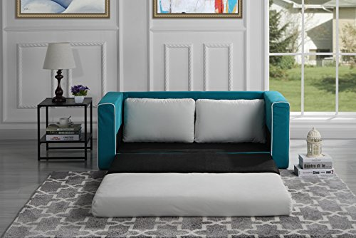 Divano Roma Furniture Modern 2 Tone Modular/Convertible Sleeper (Navy/Beige)