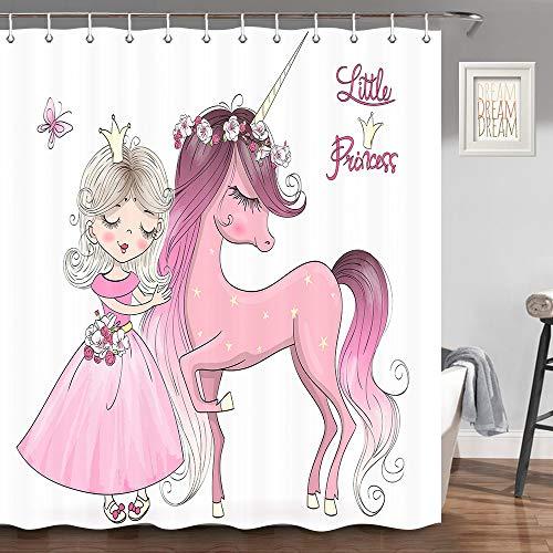 JAWO Einhorn Duschvorhang für Badezimmer, lächelnde Prinzessin & süßes Pferd mit Einer Langen Mähne Einhorn Badezimmer-Dekoration, Stoff Duschvorhang-Haken inklusive, 70 Zoll