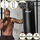 Physionics Sac de Frappe Plein - Rempli, Ø35cm, H100cm, Poids 27kg, Chaîne de Suspension 4 Points et Mousqueton Inclus - Punching Bag Boxe, MMA, Kickboxing, Arts Martiaux, Taekwando, Fitness, Sport