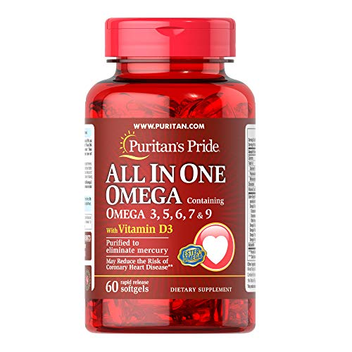 Puritans Pride All in One Omega 3, 5, 6, 7 and 9 with Vitamin D3, 60 Count