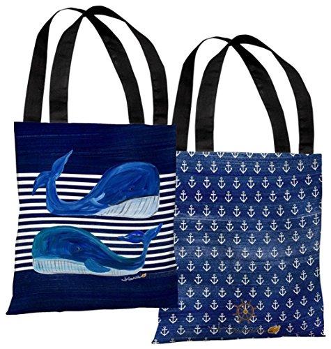 One Bella Casa 73702TT18P 45,72 cm Whale Buddies bolsa sacola de poliéster da Timree Gold44; azul-marinho