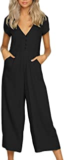 Pcutrone Women Rompers Classic Pocket Button Long Sleeve V Neck Jumpsuits