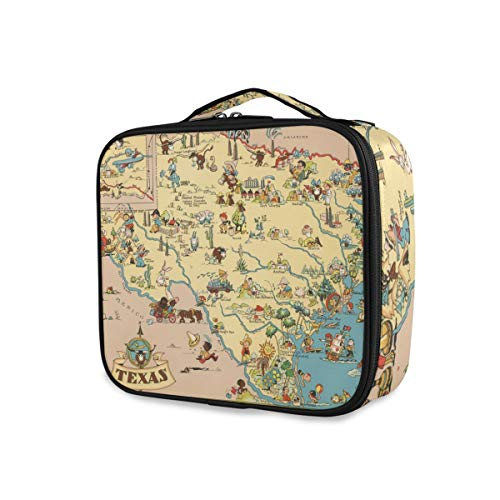 Texas State Map Cartoon Pattern Travel Makeup Bag Storage Toiletry Pouch Purse Tools Cosmetic Train Case Portable