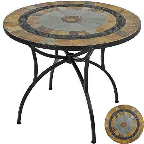 DNNAL Runder Tisch, 91cm Patio Tisch, Mini Sofa Beistelltisch Natur Dunkelrot, Dunkelbraun und Blau-Töne für Außenpatio Party-Deck Pool Verwenden