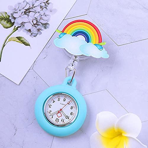 LLRR Reloj de Silicona Unisex para médicos,Gusano escalable Luminoso de Silicona, Broche de Examen de Estudiante table-1418,Reloj Médico por