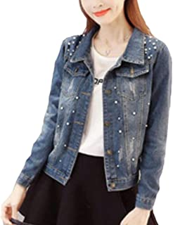 WSPLYSPJY Women Casual Pocketed Stylish Bead Oversized Slim Fit Jean Jacket Coat