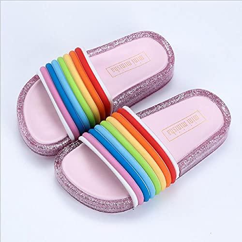 Perferct Hawaianas Mujer Chanclas,2021 Zapatos Luminosa Jalea Verano niños led Deslizador Chicas Zapatillas PVC Antideslizante Playa Sandalias niños Arco Iris Plateado-Rosa_I 27_Porcelana