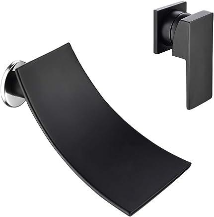 AFFC Bathroom Equipment Single Handle Wall Mounted Wide Waterfall Bathtub Bathroom Vanity Sink Faucet Chrome Polished