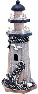 Wooden Lighthouse Decor, 10.25Inch Decorative Nautical Lighthouse Rustic Ocean Sea Beach Themed Lighthouse Decoration, Handcrafted Tabletop Nautical Themed Home Decor Bathroom Decor(Seabird & Anchor)