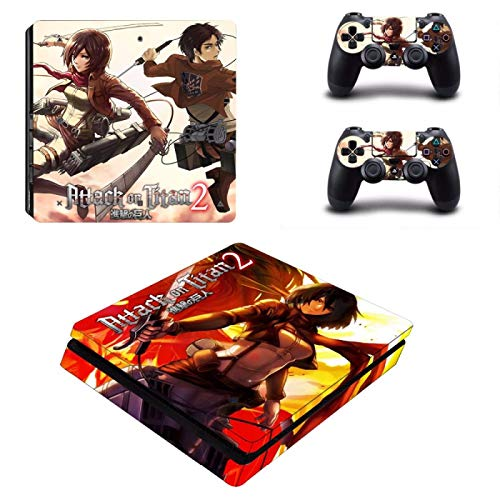 WANGPENG Anime Attack on Titan 2 PS4 Pegatina de Piel Delgada para Consola Playstation 4 y 2 Controladores PS4 Pegatinas de Piel Delgada