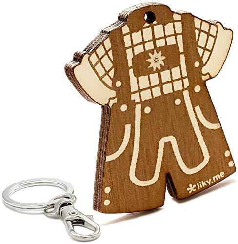 LIKY® Oktoberfest Lederhose Tracht - Original Schlüsselanhänger aus Holz Gravur Geschenk Damen Herren Geburtstag Hobby Schmuck Anhänger Tasche Rucksack…