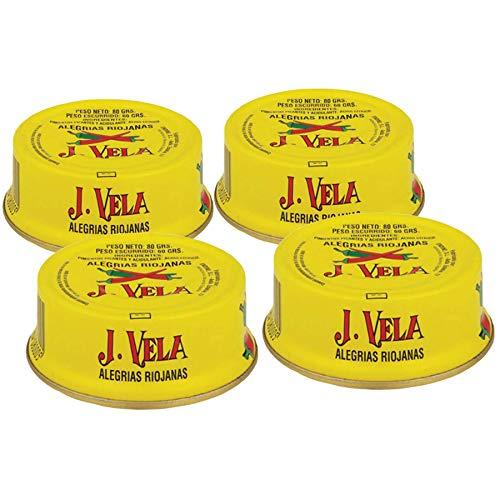 Alegrías Riojanas Pimientos Picantes Asados con Leña - Producto Artesano - Disfruta del Autentico sabor Picante de este Exquisito Pimiento (Lote 4 Latas)