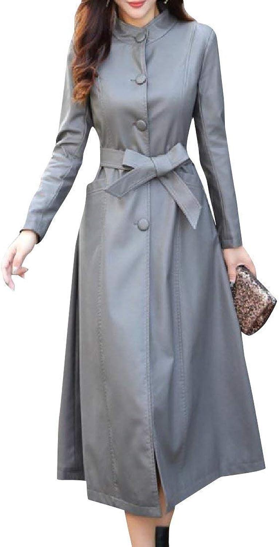 Abetteric Womens Original Fit Genuine Leather Longline Duster Coat