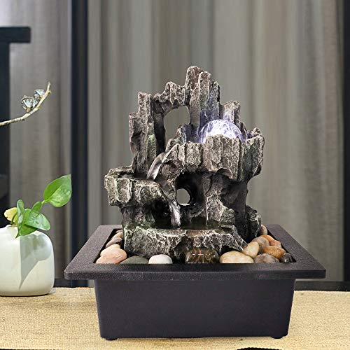 "Chillscreamni Tabletop Fountain - 11 2/5"" H 3-Tiered Resin-Rock Fountain Indoor, Designed as Woodland Tree Trunk Indoor Waterfall Fountain with LED Light&Rolling Ball (11.4in, Gray)"