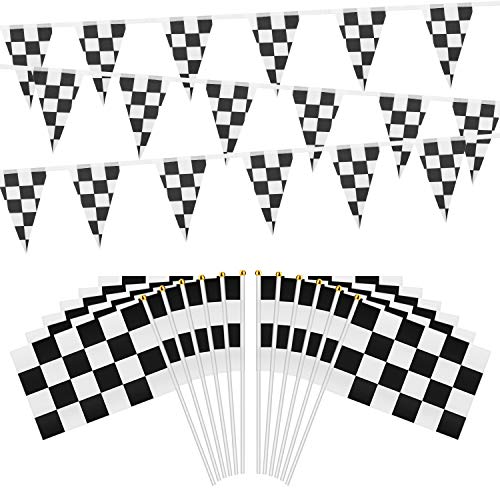 OOTSR 32ft Checkered Black and White Pennant Banner Racing Flags, and 30pcs Checkered Flags with Plastic Stick (8x5.5 Inch)