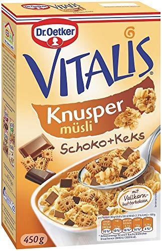 Dr. Oetker Vitalis Knuspermüsli Schoko-Keks, Knuspermüsli mit Schokostückchen und Keks, 4er Packung (4 x 450g)