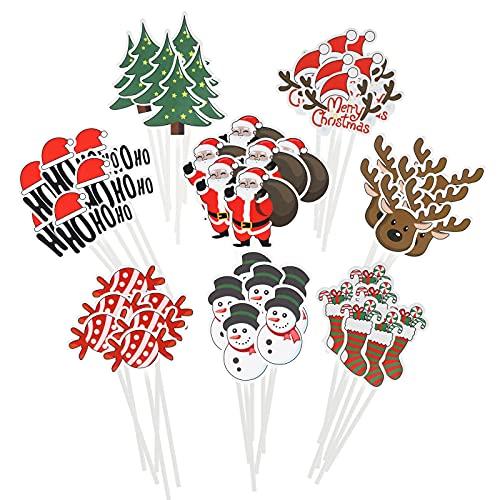 48 Stück Weihnachten Cupcake Topper,Frohe Weihnachten Weihnachtsmann Schneemann Cupcake Topper Dekoration für Kuchen Dessert Weihnachten Geburtstag Hochzeit Zubehör für Babyparty-Partys,8 Styles