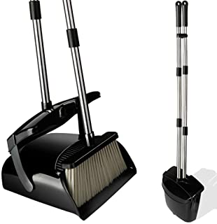 Broom and Dustpan Set with Lid, Stainless Steel Long Handle and Light Weight Lobby Broom Combo, Upright Dust Pan Ideal for...