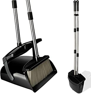 Broom and Dustpan Set with Lid, Stainless Steel Long Handle and Light Weight Lobby Broom Combo, Upright Dust Pan Ideal for Home, Kitchen, Room, Office Use by QJQBMAI