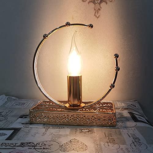Lámpara de mesa Lámpara de mesa de metal – Lámpara de mesa vintage – Lámpara de mesa retro para salón y dormitorio / Diseño industrial – oro