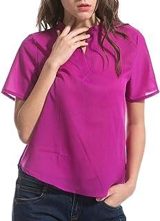 YYG Women Chiffon Slim Fit Plus Size Solid V-neck Short Sleeve Top Blouse T-Shirt