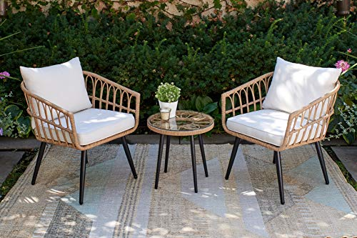 Quality Outdoor Living 65YZ03HM Hermosa 3 Piece Chat Set Tan Wicker  Linen Cushions