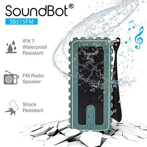 Sale!! SoundBot SB515FM FM RADIO Bluetooth Wireless Shower Speaker IPX7 WaterProof Shock-Proof Weath...